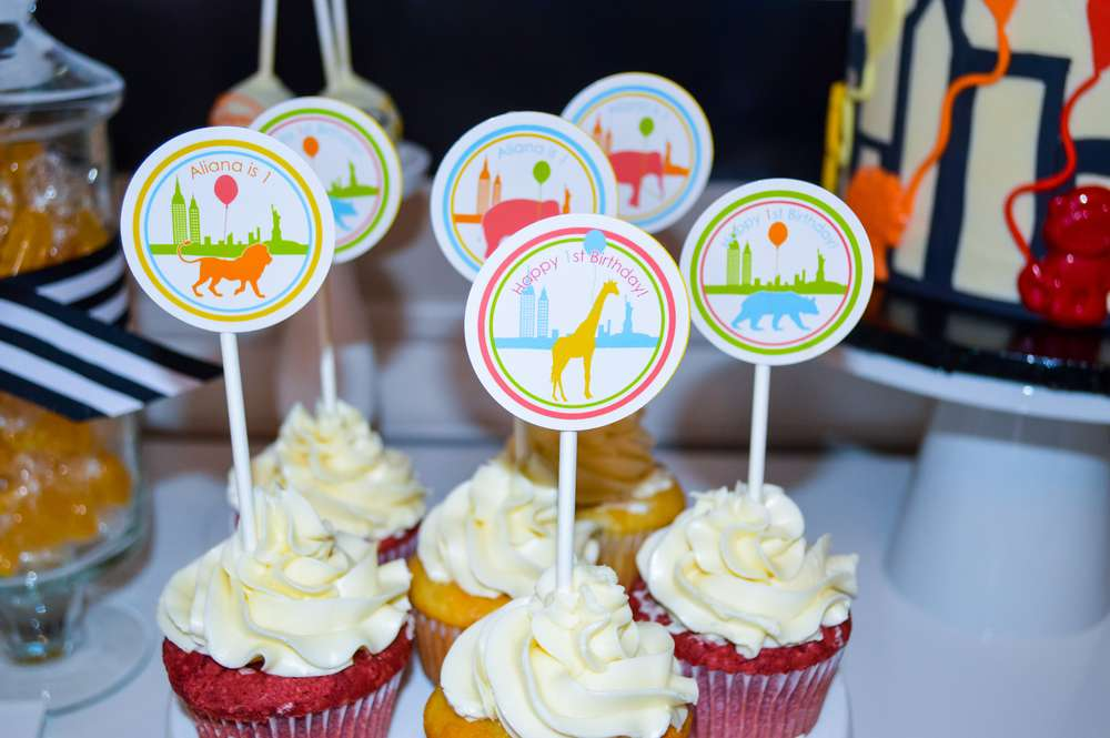 New York Theme Cupcake Toppers