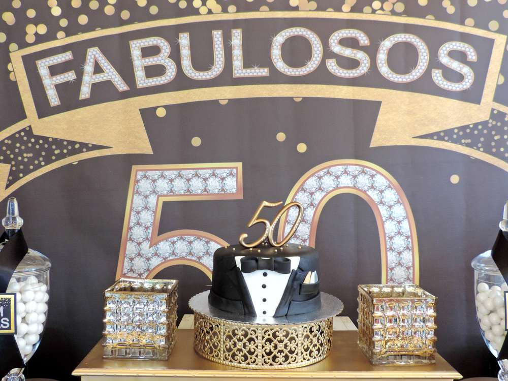 black and gold 50th birthday party decorations