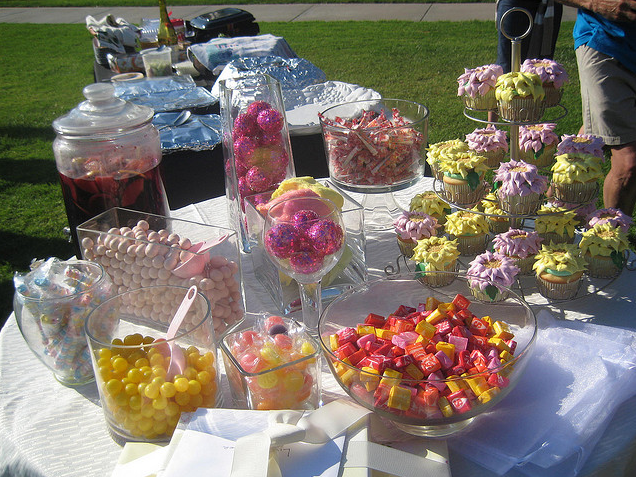The first photo shows a mini candy buffet from a wedding shower