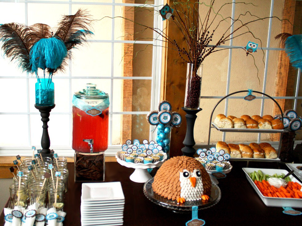 Owl baby shower bird party decorations for Baby shower food decoration ideas