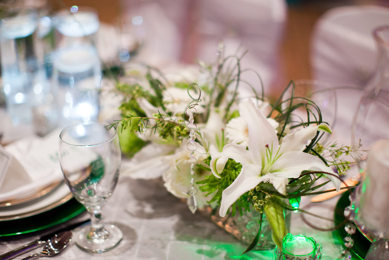 Green and white wedding reception theme decorations
