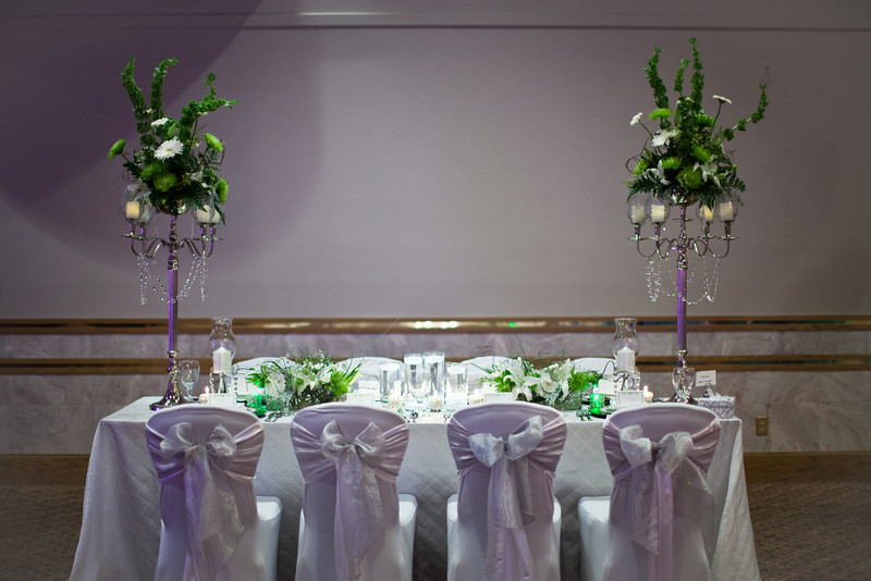 Green and white wedding reception theme decorations the candelabras junglespirit Images