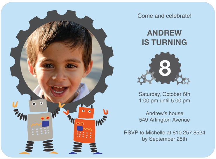 Robot Birthday Party – Robot Party Invitations