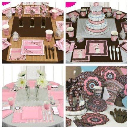 pink and brown baby shower theme ideas