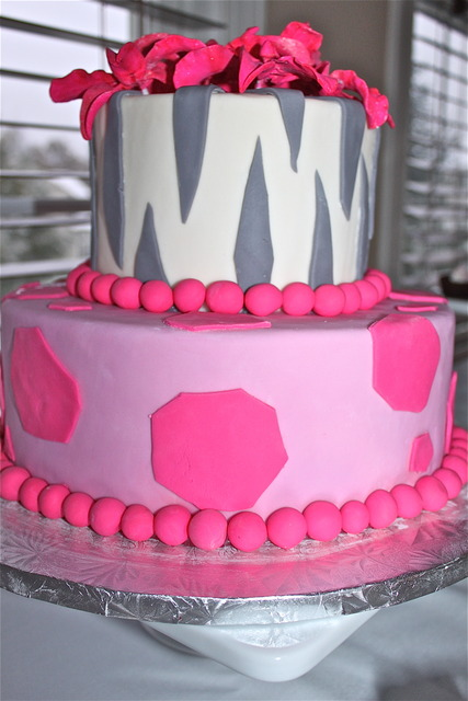 pink safari baby shower cake
