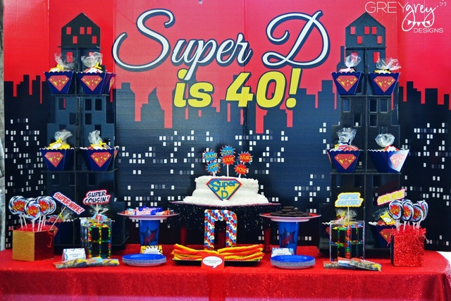 Super hero birthday party for a 40th for 40 birthday decoration ideas