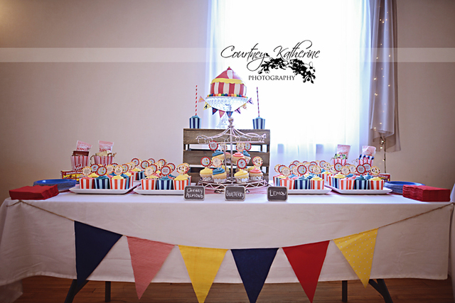 Circus themed baby shower carnival party for Baby shower decoration ideas blog
