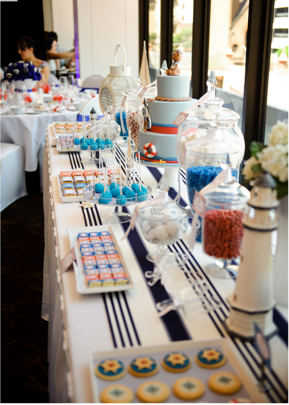 Nautical theme christening boat and sea baptsim for Theme marin decoration