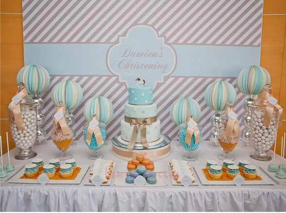 Baby baptism table decorations photograph boys christening for Baby christening decoration