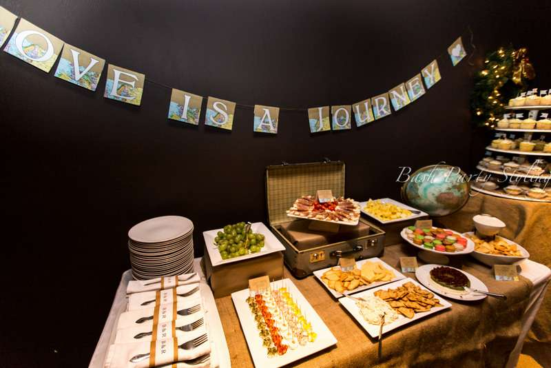 Travel themed bridal shower world party ideas for Another word for food decoration