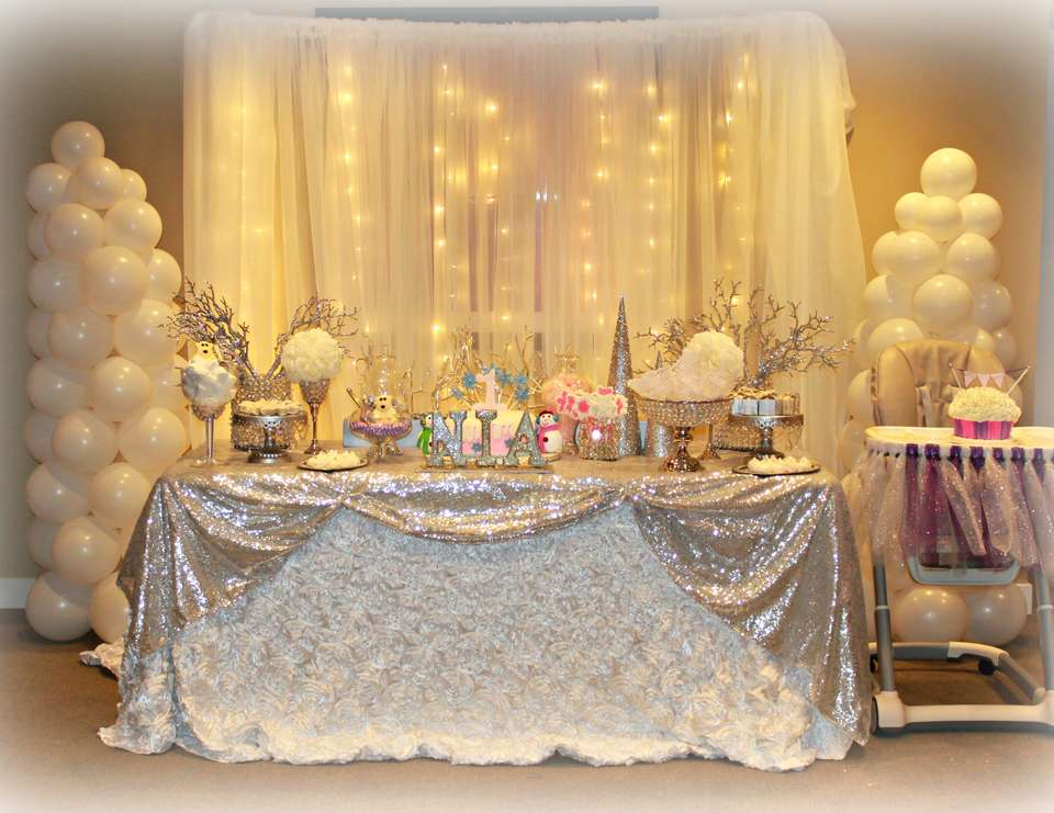 Winter themed birthday party for All white party decoration ideas