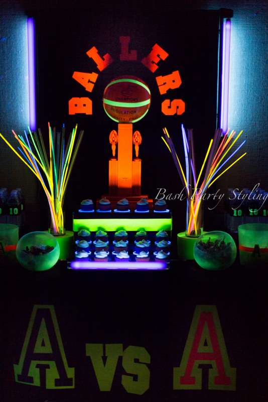 Basketball Birthday Party - Glow in the Dark
