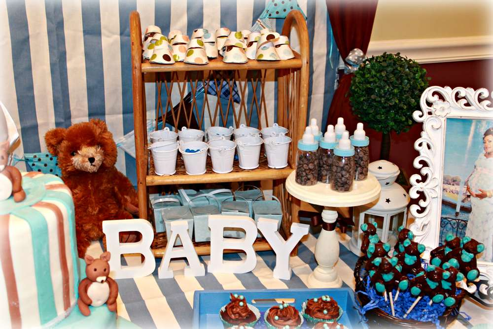 Teddy Bear Baby Shower Blue And Brown Party