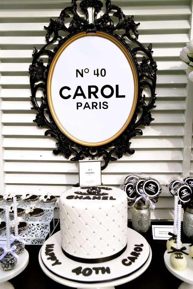Th Birthday Party Chanel Theme Ideas - 40th birthday party favors ideas