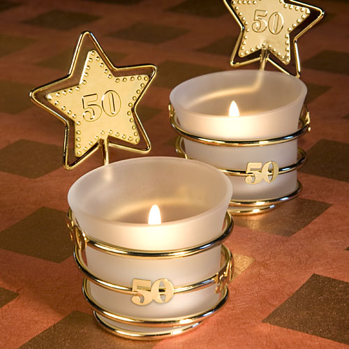 50th Birthday Gold Candle Favors