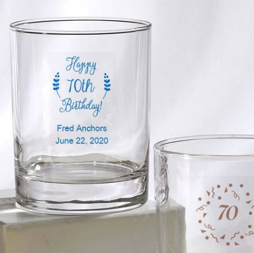 70th Birthday Favors Rocks Glasses