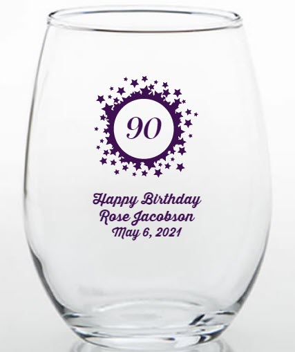 90th birthday favors glasses