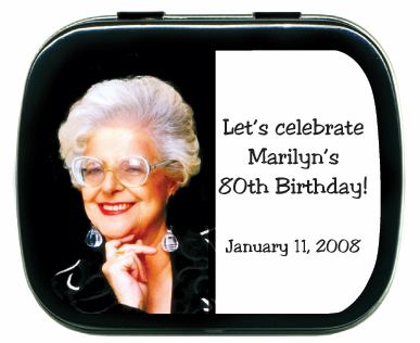 80th birthday party favors mint tins